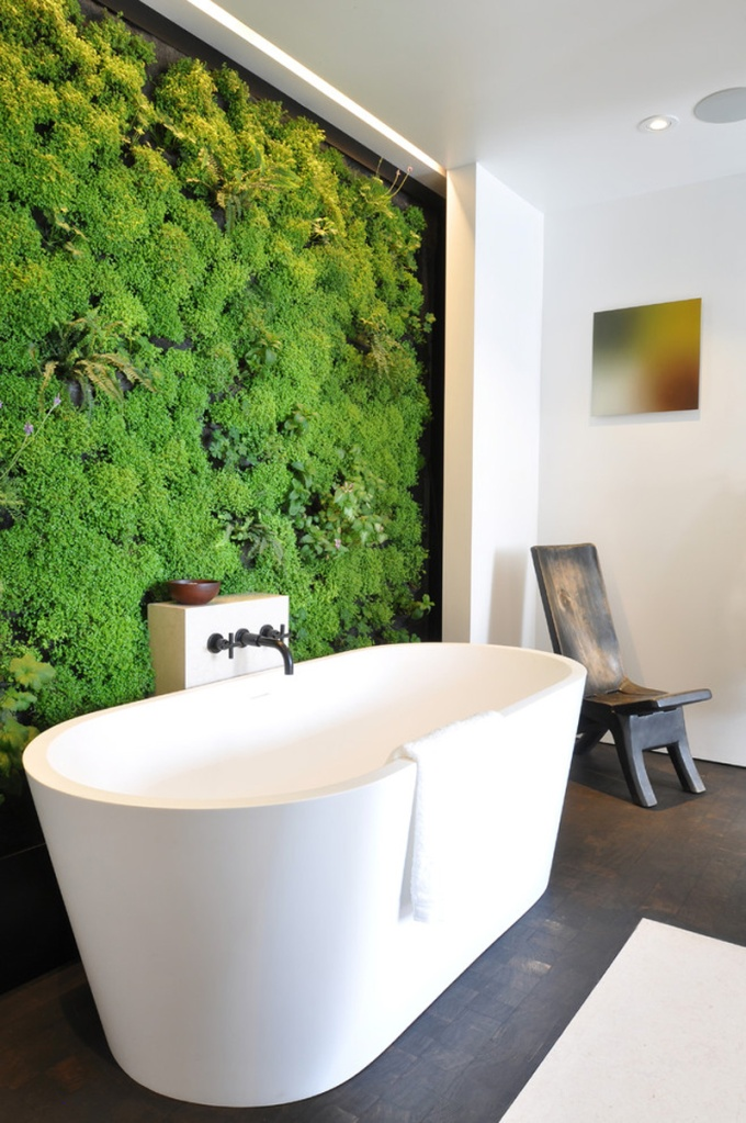 Dreany Bathtub - Bathtub against a vertical garden