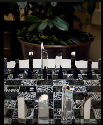 a championship-size chess set designed For 'Architecture and The City' Libeskind's2