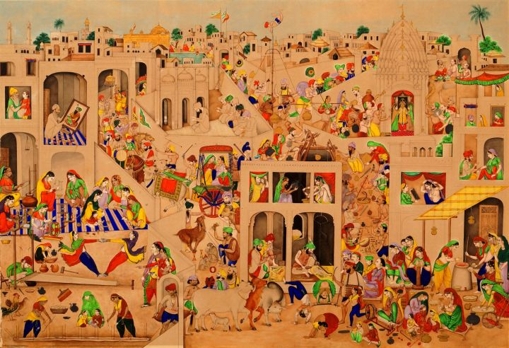 indian-miniature-painting-19th-century-indian-town-of-amritsar-with-the-golden-temple-harmandir-sahib-in-the-background