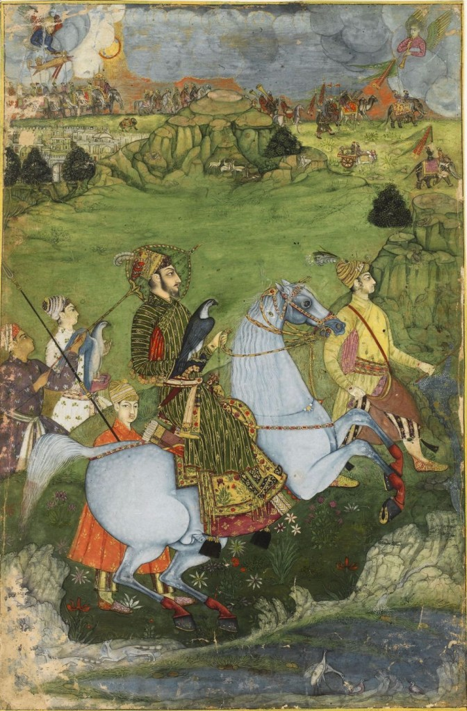 indian-miniature-painting-a-prince-holding-a-falcon-and-galloping-through-a-rocky-landscape