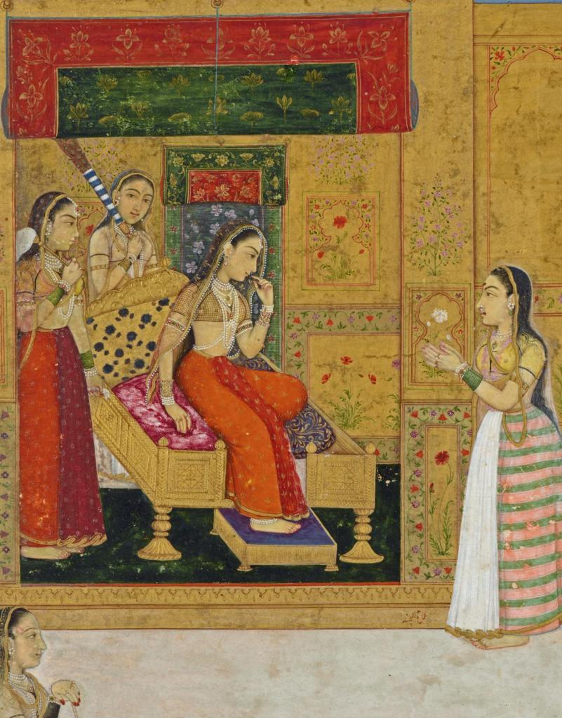 indian-miniature-painting-a-wandering-yogi-faints-before-a-princess-by-dalchand-princess-on-throne