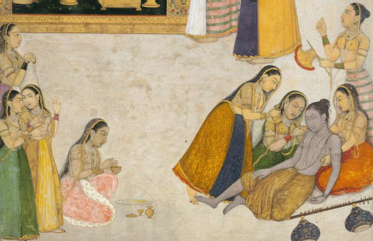 indian-miniature-painting-a-wandering-yogi-faints-before-a-princess-by-dalchand-yogis-fainted