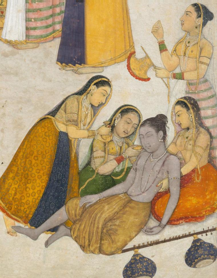 indian-miniature-painting-a-wandering-yogi-faints-before-a-princess-by-dalchand-yogis-veena-details