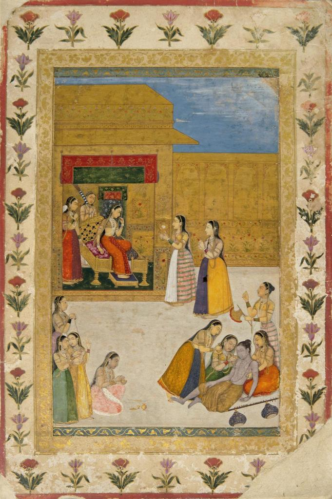 indian-miniature-painting-a-wandering-yogi-faints-before-a-princess-by-dalchand