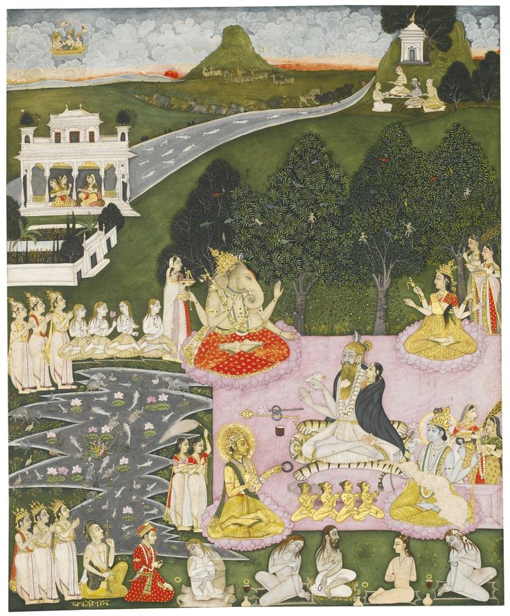 indian-miniature-painting-an-assembly-of-hindu-gods-ascetics-and-worshippers