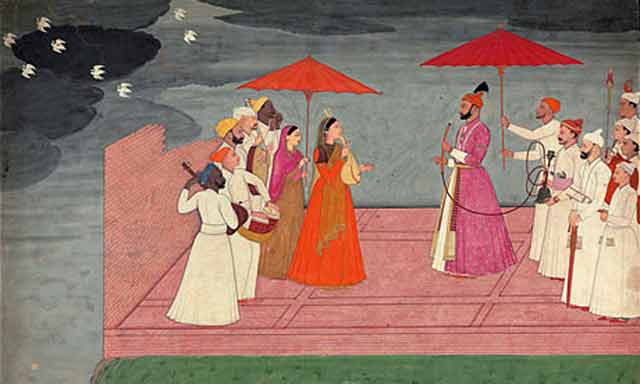 indian-miniature-painting-musicians-playing-a-raga-for-balwant-dev-singh-during-the-rainy-season-by-nainsukh-of-guler